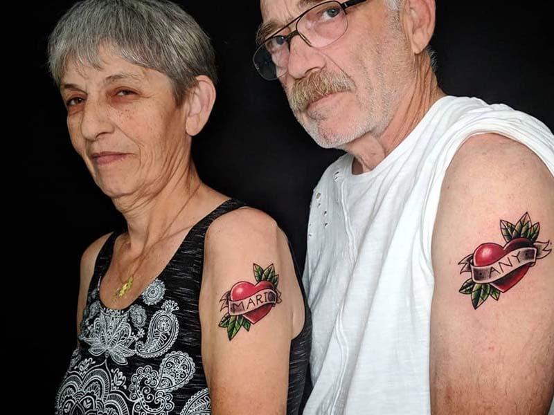 old school cuples tattoo heart  red love קעקוע אולד סקול קלאסי שמות אהבה אדום