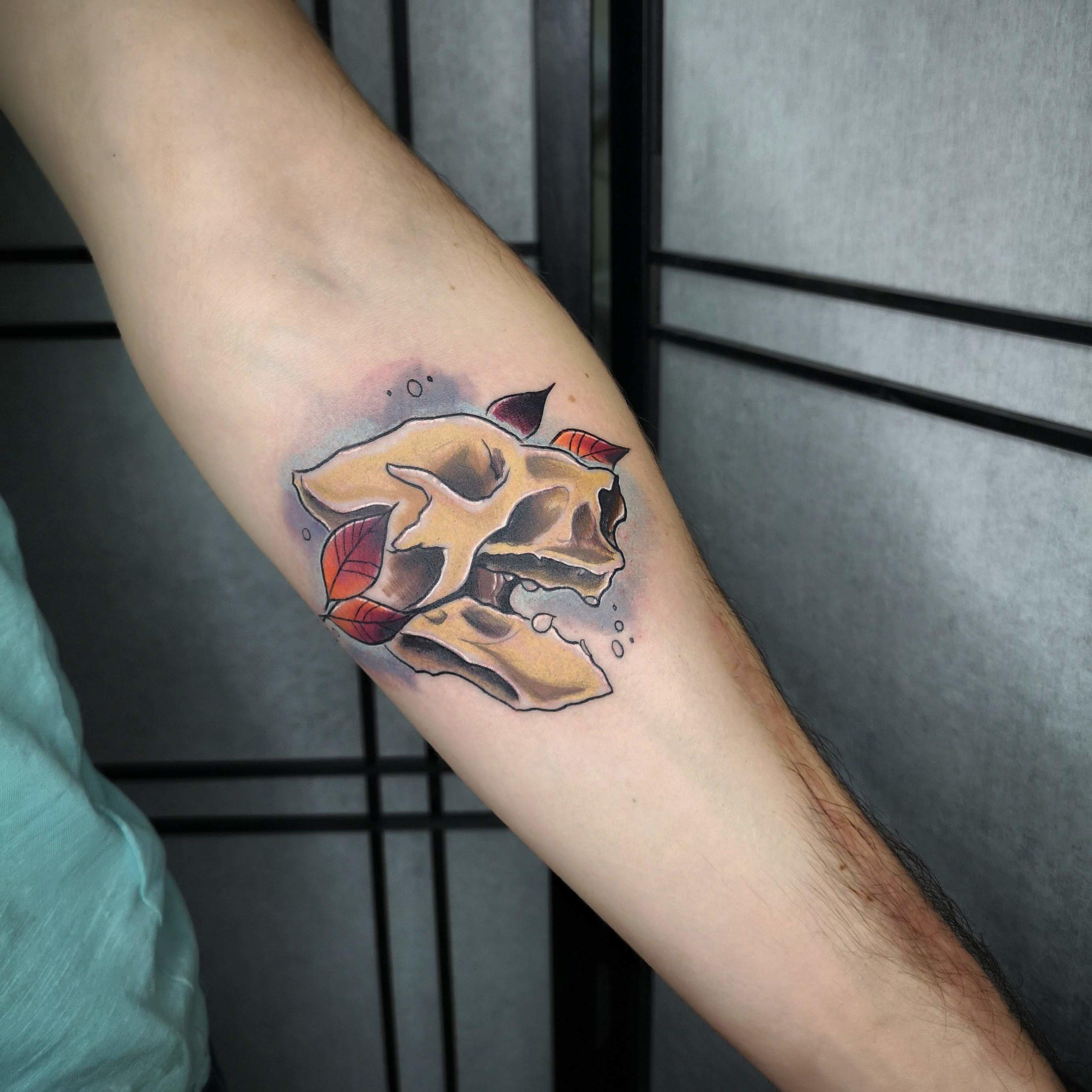 sloth skull tattoo color קעקוע גולגולת עצלן עלים צבע